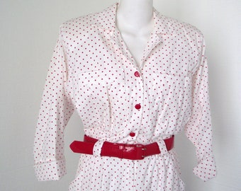 Star Print Dress 1980s Red and White Shirtwaist with Red Belt