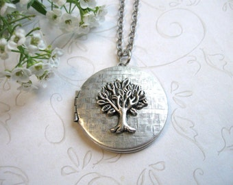 Silver tree locket necklace, vintage silver locket, tree of life, keepsake