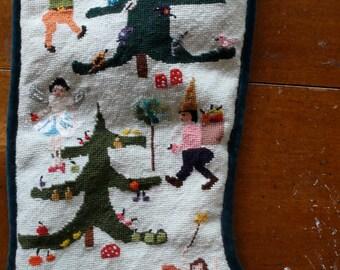 Original design needlepoint stocking  Gnomes and Fairies