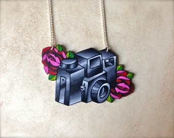 Tattoo Necklace Vintage Tattoo Camera with Bright Blood Red Roses Necklace by Wicked Minky NEW