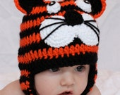 Tiger Animal Earflap Hat - - Sizes Newborn to Adult -