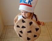 Kids Costume Childrens Costume Cookie Halloween Costume Chocolate Chunk Cookie with Milk Hat