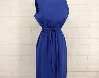 REDUCED Vintage 60's Linen Day Dress, Summer, Sleeveless, Medium