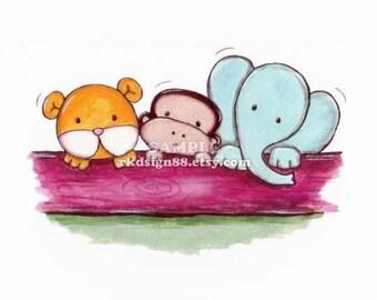 Nursery art prints, baby boy nursery, nursery wall art, zoo animals, children decor, elephant, monkey, lion - Together 8 x 10 print
