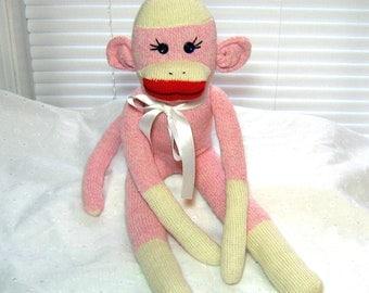 Sock Monkey Doll  Sapphire the Rockford Red Heel Sock Monkey