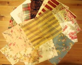 Fabric Swatches, Lot of 164 Pieces, Patterns in Blues, Reds, Aquas, Golds, Tans, Florals