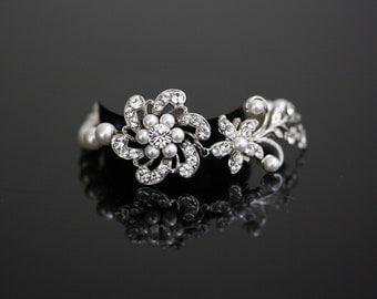 White Pearl Bridal Bracelet Wedding Bracelet Swarovski Crystal Rhinestone Flower Pearl Bracelet Wedding Jewelry SABINE FINE