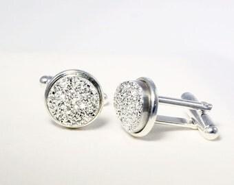 Silver Cuff LInks Titanium Druzy Cuff Links Drusy Cuff Links Druzy Jewelry Drusy Jewelry Wedding Cuff Links FD-CL-105-S/s