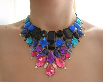 Jewel Tone Necklace, Rhinestone Statement Necklace, Colorful Bib Necklace, Black, Blue, Pink, Purple, Rhinestone Bib Necklace