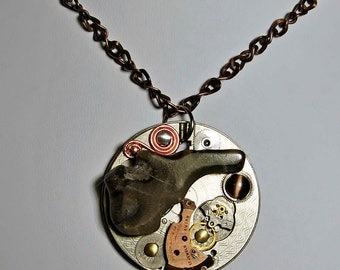 Michigan Petoskey stone art pendant on chain with vintage watch parts rubies one of a kind steampunk style