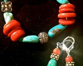 Desert TURQUIOSE RED CORAL Stretch Bracelet n Earrings