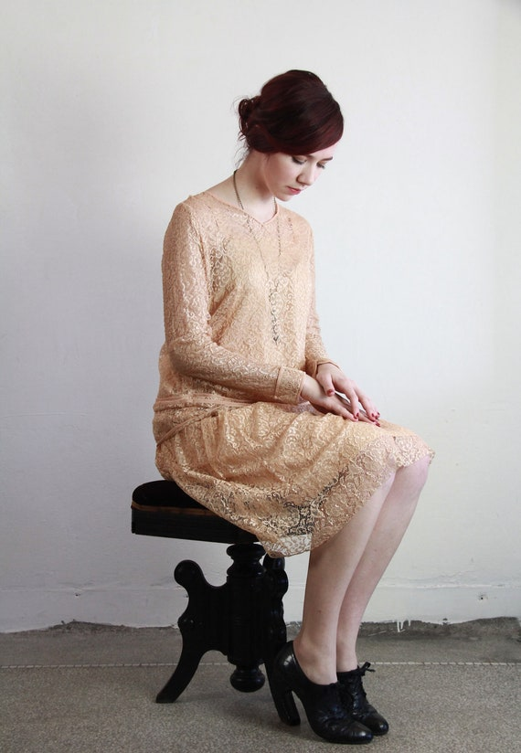 vintage peach lace flapper dress with separate skirt and top