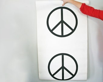vintage 60s Give Peace A Chance Black and White Wall Paper Roll