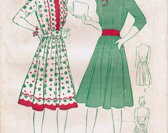 1940s Butterick 2573 FF Vintage Sewing Pattern Misses Dirndl Frock, Dress Size 14 Bust 32