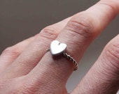 Heart Ring, Sterling silver, Made to order, Custom Ring , Stacking ring,  sterling silver with twist band
