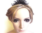 Tiara Clockhand Steampunk Noir Victorian inspired Black with Crystals- Strangers in the fog
