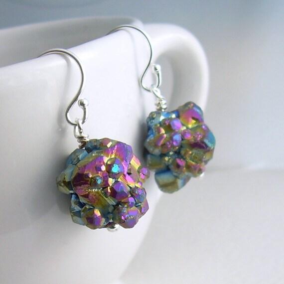 Titanium Druzy Earrings, Crystal Cluster Jewelry, Raw Stone Earrings