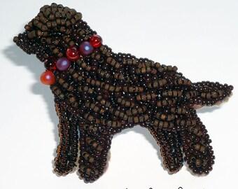 Sale: CHOCOLATE LAB keepsake beaded pin pendant Labrador Retriever dog jewelry/ Ready to Ship (a)