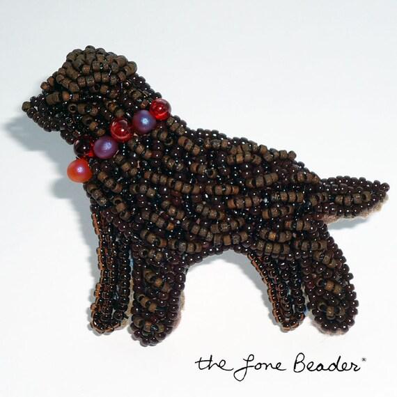 Sale: CHOCOLATE LAB keepsake beaded pin pendant Labrador Retriever dog jewelry/ Ready to Ship/ Free USA shipping