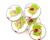 Christmas Buttons. Handmade Buttons.  5 Green and Red Christmas Bird Buttons. Sewing or Knitting.