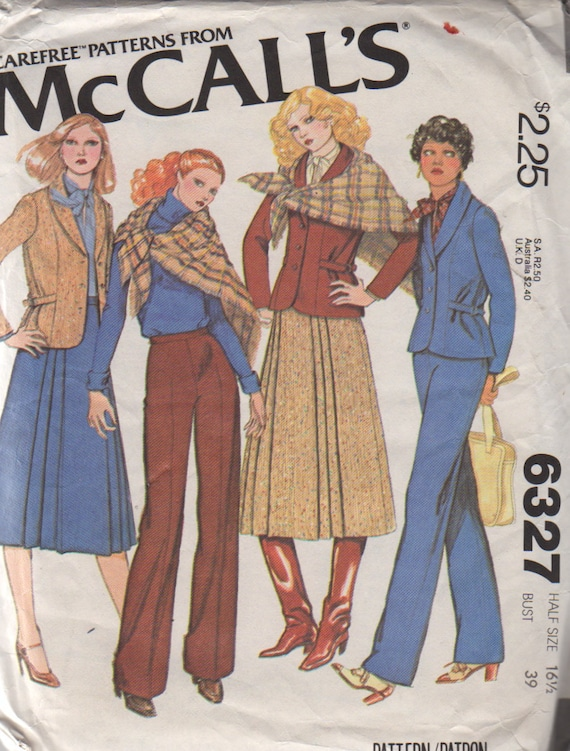 McCalls 6327 1970s  Half Size Jacket  Skirt Shawl and Pants Pattern Womens Vintage Sewing Pattern Size 16 1/2 Bust 39 Uncut