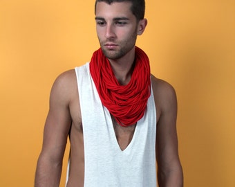 Red Scarf, Festival Wear, Mens Red Scarf, Solid Red Scarf, Fashion Accessories, Festivals, Festival Wear Men, Infinity Scarf, Scarves Red