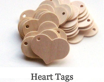 Unfinished Wooden Heart Tags - 2.25 inch x 1.75 inch - pack of 50