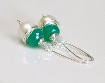 Emerald Green Onyx and White Pearl Dangle Earrings, Duality Earrings Bound in Sterling, Irish Green, May Birthday, Long Self Latch Earrings