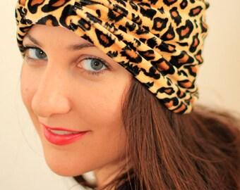 Leopard Print Turban - Velvet Head Wrap