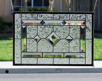 DIAMONDS-Clear Stained Glass Window Panel, Stained Glass Window, Stain Glass Panel, Clear Bevels, Beveled, Clear Textured Glass, Diamonds
