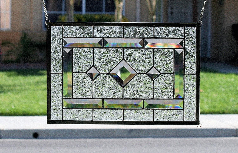 Clear Leaded Glass : Stained glass window paneldiamondsclear stain