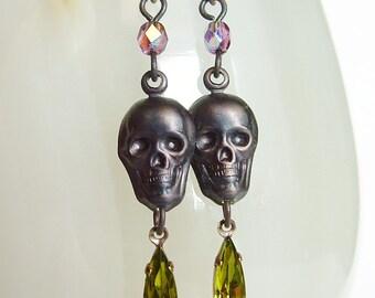Black Skull Dangle Earrings Vintage Rhinestone Earrings Oxidized Brass Skull Jewelry Creepy Goth