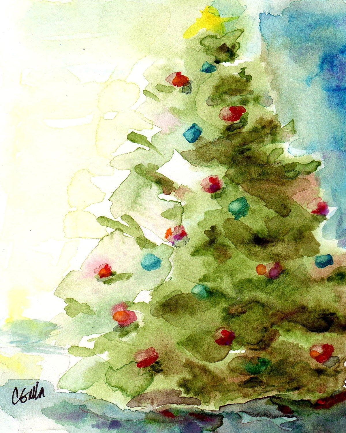 Watercolour Christmas Tree: Christmas Tree Holiday Print From Original Watercolor 8 X 10