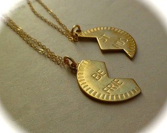 Best friends necklaces, two brass bff necklaces