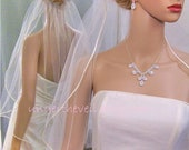 Wedding Veil SATIN, 1/8 Ribbon Edge Veil, ELBOW Waist Length, 1 Tier, All Colors