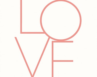 Modern Love Art Print - Pink, sans serif typography poster