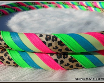 Custom Leopard Print Hula Hoop - 'UV Rainbow Leopard Glow' - GLoW In The DaRK! One of a Kind.