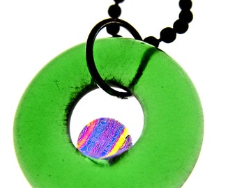 Simply Upcycled Glass Pendant Necklace - Green Dichroic Center