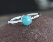 Plumeria - Blue Larimar and Sterling Silver Ring | Larimar Stacking Ring | Silver Stack Ring | Stackable Ring