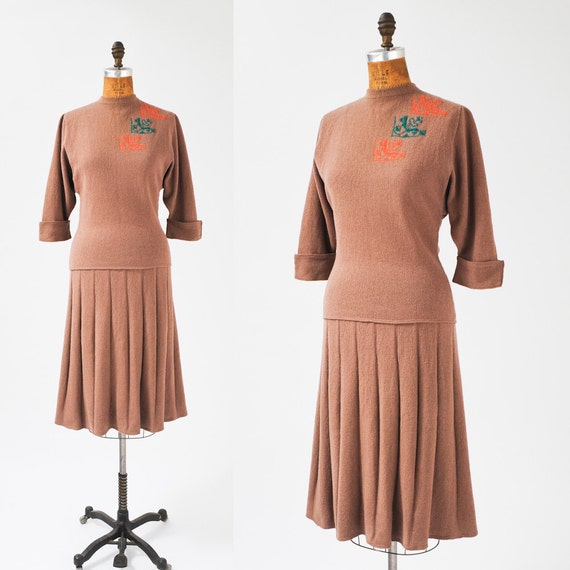 1940s Sweater Skirt Set: Vintage Wool Hand Knit Dress Set, 40s Sweater Girl Two Piece, Swing Era,