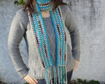 Womens Striped Scarf, Tribal Pattern Scarf, Gray, Blue, and Green, Hand Crocheted READY to SHIP