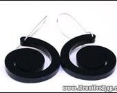 Black Swirl Earrings, Shiny Black Laser Cut Acrylic Earrings