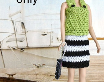 Crochet pattern (PDF) for Silkstone Barbie summer halter top and striped skirt
