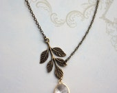Leaf Necklace. Antiqued Brass Greek Leaf, Gold Plated Clear Glass Drop Necklace. Bridesmaid Jewelry. Bridesmaid Gift. Vintage Theme Wedding