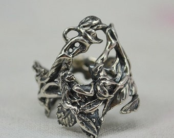 Faerie Ring With Clematis Vine in Sterling Silver