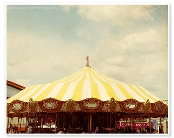 Carousel Photography, Dreamy Summer Photograph, Bright Yellow Stripes, Pretty Whimsical Merry-go-round, Nursery Room Art, Seaside Deco
