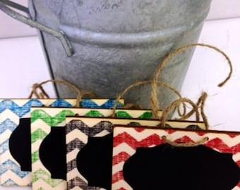 Hand Stamped Chalk Tags - set of 4 - Basket Labels, Chalkboard Tags, Wedding Chalkboards, Rustic Wedding