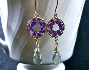 Pinwheel Design- Earrings, Purple & Green Amethyst, Gold Filled, Wire Wrapped