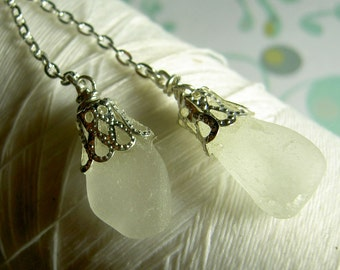 Lasso A Seahorse - whites sea glass necklace / sea glass necklace / seaglass necklace / lariat necklace / beach necklace / beach jewelry