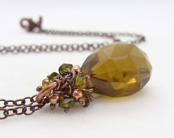 Autumn brown green and copper necklace with hessonite garnet gemstones and brown quartz, handmade copper jewelry